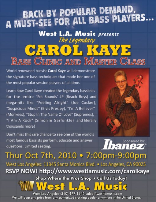 Master Class by Carol Kaye hosted by West L.A. Music
