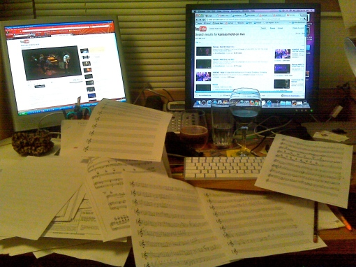 Hard at work transcribing parts, and yes, I DO need that much alcohol while working ;)