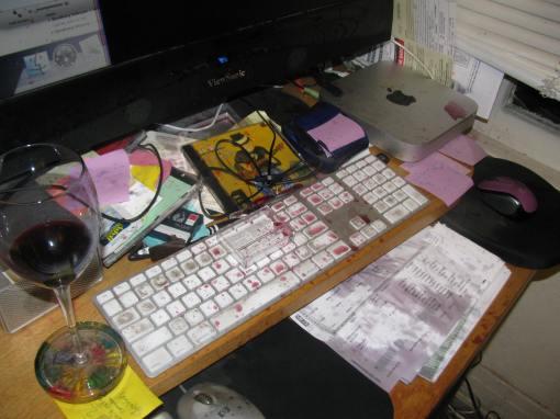wine on keyboard