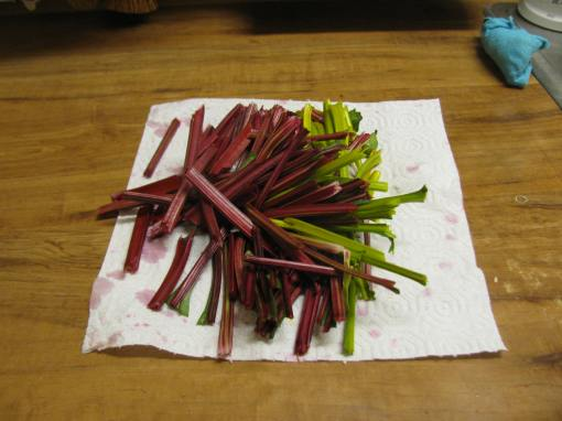 beet stems ready for composting