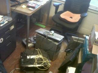 pile of ewaste in office